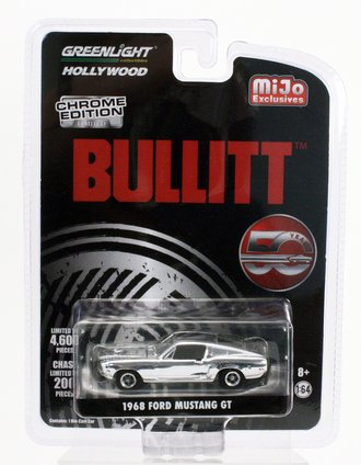 Chase 1:64 Bullitt 50 Year Anniversary (Chrome Edition) 1968 Ford Mustang GT (Silver Chrome)