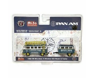 """Super Chase 1:64 Auto Trailer Volkswagen VW Bus Deluxe w/Trailer """"Pan Am Airlines"""""""