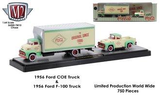 "Chase 1:64 1956 Ford COE Box Truck w/1956 Ford F-100 Pickup ""Coca-Cola"""