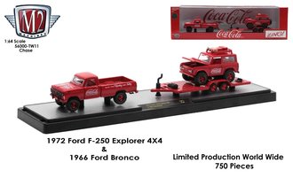 """Chase 1:64 1972 Ford F-250 Explorer 4x4 Pickup Truck w/Flatbed Trailer & Ford Bronco """"Coca-Cola"""""""