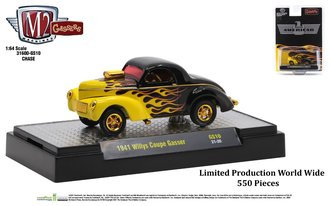 Chase 1:64 1941 Willys Coupe Gasser (Black w/Bright Yellow Flames)
