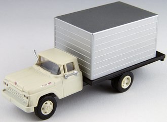 1:87 1960 Ford Box Truck (White Cab w/Silver Box)