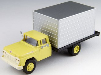 1:87 1960 Ford Box Truck (Yellow Cab w/Silver Box)