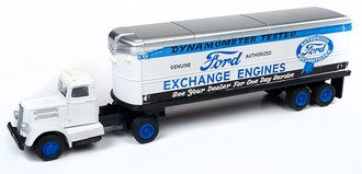 """White WC22 Tractor Trailer Set """"Ford Exchange Engines"""" (White/Blue)"""
