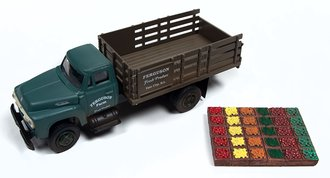 """1:87 1954 Ford Stakebed Truck & Produce Crates """"Ferguson Farm"""" (Meadow Green)"""