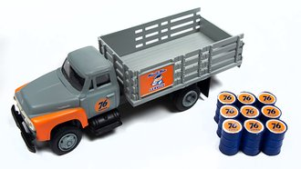 "1954 Ford Stakebed Truck w/Oil Drums ""Union 76"" (Grey/Orange)"