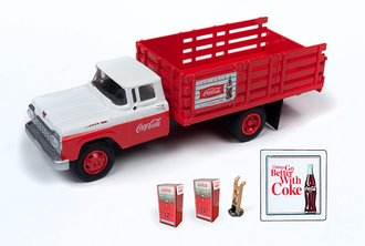 "1960 Ford Stakebed Truck w/1960's Machines, Hand Truck & Sign ""Coca-Cola"" (Red/White)"