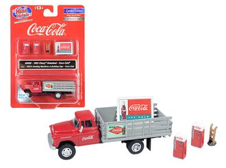 "1955 Chevy Stakebed Truck w/1950's Machines, Hand Truck & Sign ""Coca-Cola"" (Red/Gray)"