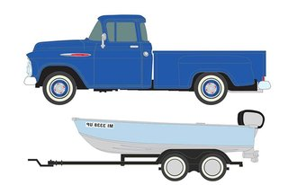 1957 Chevy Step Side Pickup Truck w/Fishing Boat & Trailer (Dawn Blue)