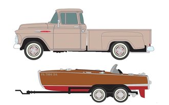 1957 Chevy Step Side Pickup Truck w/Wood Boat & Trailer (Artic Beige)