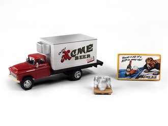 "1955 Chevy Beer Truck w/Kegs, Skid & Building Sign ""Acme Beer"" (Red/Cream)"