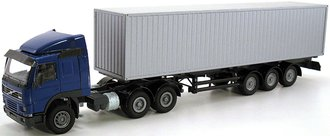 Volvo FM12 w/3-Axle Ribbed Container Trailer (Blue/Silver)