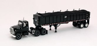 1:64 Ford LN 9000 Day Cab w/East End Dump Trailer (Black)