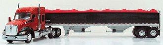 1:64 Kenworth T680 Mid-Roof Sleeper w/2-Axle Wilson Grain Trailer (Red/Black)