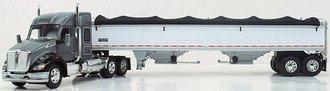 1:64 Kenworth T680 Mid-Roof Sleeper w/2-Axle Wilson Grain Trailer (Silver/Gray)