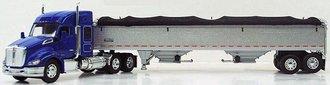 1:64 Kenworth T680 Mid-Roof Sleeper w/2-Axle Wilson Grain Trailer (Blue)