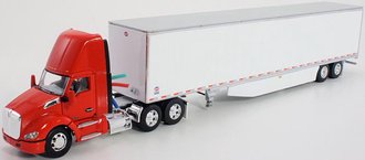 1:64 Kenworth T680 Day Cab w/53' Utility Dry Goods Trailer (Red/White)