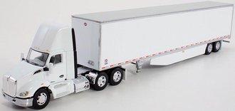 1:64 Kenworth T680 Day Cab w/53' Utility Dry Goods Trailer (White)