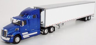 1:64 Western Star 5700 XE High Roof Sleeper w/53' Reefer Trailer (Blue/White)