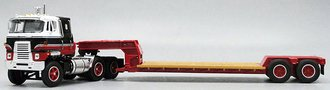 1:64 International TranStar w/Rogers Lowboy Trailer (White/Black/Red)