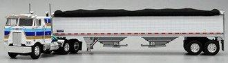 "1:64 Peterbilt 352 COE 86"" w/Dual Stacks & Air Cleaners (White) w/Wilson Grain Trailer (White)"