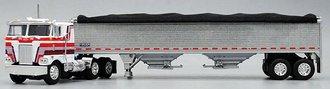 "1:64 Peterbilt 352 COE 86"" w/Single Stack & Roof Air Cleaner (White) w/Wilson Grain Trailer (Silver)"