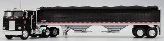"1:64 Peterbilt 352 COE 86"" w/Single Stack & Roof Air Cleaner (Black) w/Wilson Grain Trailer (Black)"