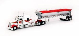 "1:64 Kenworth W900L 72"" Sleeper w/Chrome Sided Tandem Axle MAC Round Dump Trailer (White/Red)"