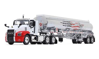1:64 Mack Anthem Day Cab w/42' Fuel Tank Trailer (White/Red/Chrome)