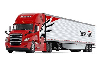 "1:64 Freightliner New Cascadia High-Roof Sleeper w/53' Skirted Reefer Trailer ""Cedar Point Trucking"""