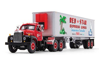 "1:64 Mack B-61 Day Cab w/40' Vintage Reefer Trailer ""Red Star Express Lines"""