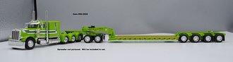 "1:64 Peterbilt 379 63"" Sleeper Tri-Axle w/Jeep, 3-Axle Lowboy, Spreader & Flip Axle (Lime/White)"