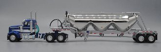 Kenworth W900L Short Frame Day Cab w/Pneumatic Tanker (Blue/White/Chrome)