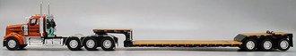 Kenworth W900L Tri-Axle Day Cab w/Fontaine Renegade Machinery Trailer (Orange/Black)