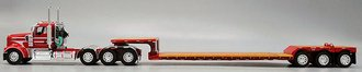 Kenworth W900L Tri-Axle Day Cab w/Fontaine Renegade Machinery Trailer (Red/White)