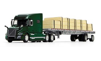 Volvo VNL 740 Mid-Roof Sleeper w/Wilson Flatbed Trailer w/Lumber Load (Forest Green/Silver)