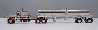 "Peterbilt 389 63"" Flattop Sleeper w/Chrome Spread-Axle Walker Milk Tanker (Silver/Burgundy)"
