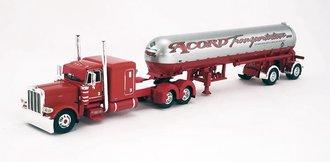 "1:64 Peterbilt 389 63"" Flattop Sleeper & Mississippi LP Tank Trailer ""Acord Transportation"" (Red)"