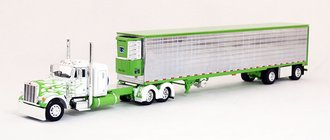 """Peterbilt 379 36"""" Sleeper w/Chrome Sided Trimmed Spread-Axle Utility Reefer Trailer (White/Lime)"""