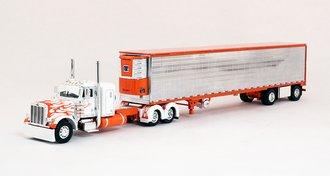 "Peterbilt 379 36"" Sleeper w/Chrome Sided Trimmed Spread-Axle Utility Reefer Trailer (White/Orange)"