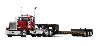 Peterbilt 379 Day Cab w/Fontaine Renegade Extendable Lowboy w/Flip Tail (Red Cab/Black Trailer)