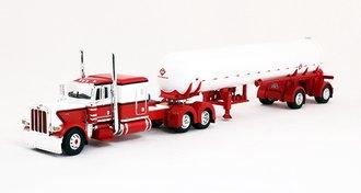"""Peterbilt 389 63"""" Flattop Sleeper w/Mississippi LP Tank Trailer (Red/White)"""