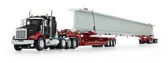 Kenworth T800 Sleeper w/Fontaine Lowboy, Elk River 6-Axle Hydra-Steer Trailer & Beam Load (Black)