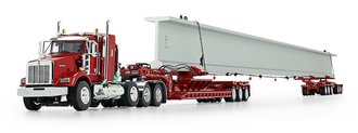 Kenworth T800 Sleeper w/Fontaine Lowboy, Elk River 6-Axle Hydra-Steer Trailer & Beam Load (Red)