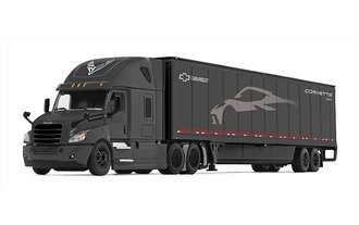 "Freightliner 2018 Cascadia High-Roof Sleeper w/53' Wabash DuraPlate Trailer w/Skirts ""C8 Corvette"""