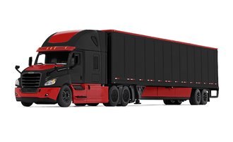 Freightliner 2018 Cascadia High-Roof Sleeper w/53' Wabash DuraPlate Trailer w/Skirts (Red/Black)