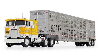 "Peterbilt 352 COE 110"" w/Wilson Silverstar Livestock Trailer ""Kreilkamp Trucking"" (White/Yellow)"