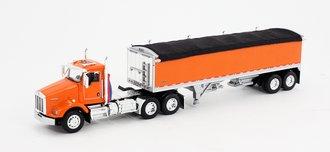 1:64 Kenworth T-800 w/Wilson Short Grain Trailer (Orange/Orange)