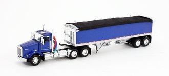 1:64 Kenworth T-800 w/Wilson Short Grain Trailer (Blue/Blue)