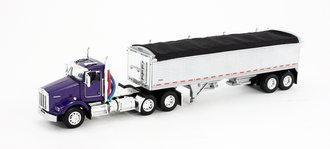 1:64 Kenworth T-800 w/Wilson Short Grain Trailer (Purple/Chrome)